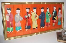 Large Hollywood Regency Art Piece Chinese Asian Silk Made People Framed