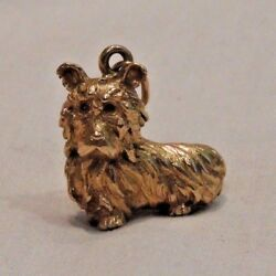 Vintage 18K Gold Yorkshire Terrier Dog with Ruby Eyes Pendant Charm