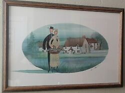 P Buckley Moss Summer Flowers 1989 Framed Mat Print Signed Numbered Rare Find
