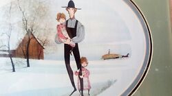 P Buckley Moss My Girls 1983 Framed Signed Mat Print Rare Find Father Daughter