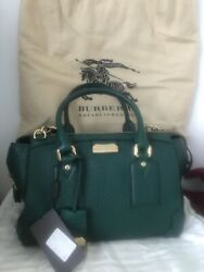 NEW Burberry Green Leather Gladstone Purse Bag Tote Satchel