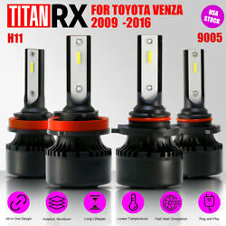 4x LED Headlight Bulb Kit H11/9005 High/Low Beam Suit For TOYOTA Venza 2009-2016