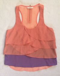 Lush Women Peach Coral Purple Layers Light Ruffle Tank Top Sleeveless Shirt S .