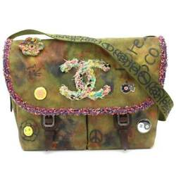 Auth CHANEL Embroidery Messenger Bag Canvas Leather Khaki A92790 90065504