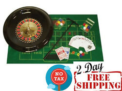 Deluxe Roulette Wheel Spinning Set With Accessories Stamped Numbers 16-inch
