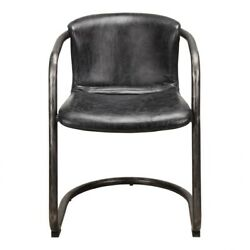 21 W Set Of 2 Dining Chair Antique Black Top Grain Leather Iron Frame