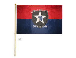 5and039 Wood Flag Pole Kit Bracket W/ 3x5 Army Second Infantry Division Red Blue Flag