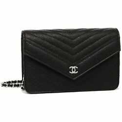 CHANEL A84350 Y33119 94305 Caviar Skin Women's Shoulder Bag Chain Wallet NOIR
