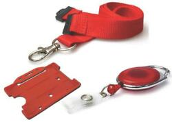Id Neck Strap Lanyard 20mm Id Card Holder And Retractable Reel Badge Holder Red
