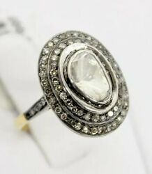 .67 Ct Tw Diamond Ring Antique Cut W/ Double Diamond Halo 14kt Gold And Silver