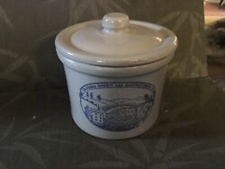 Vintage 50's Columbia Biscuit And Manufacturing Co Stoneware Biscuit Jar With Lid