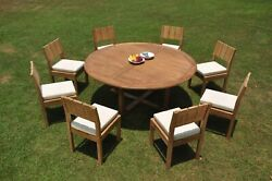Dsvr A-grade Teak 9pc Dining Set 72 Round Table 8 Armless Chair Outdoor Patio