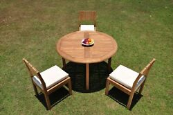 Dsvr A-grade Teak 4pc Dining Set 48 Round Table 3 Armless Chair Outdoor Patio