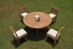Dsvr A-grade Teak 5pc Dining Set 60 Round Table 4 Armless Chair Outdoor Patio