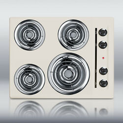 New In Box Bisque 24 Electric Cooktop Surface Unit Still High Temp Burners