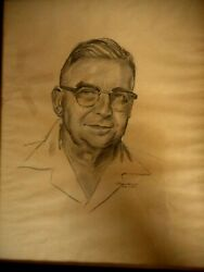Vintage 1950's Sketch Unknown Middle Aged Man Glasses Kitschy G. Bouchard