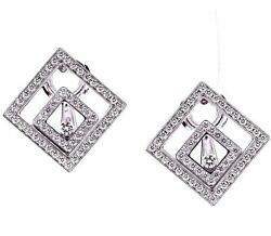 Chopard Floating Diamond Happy Spirit Square Earrings made of 18k White Gold