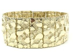 10k Yellow Gold Nugget Bracelet 8.75-9.5 31.75mm 101.4 Grams Real Solid Gold