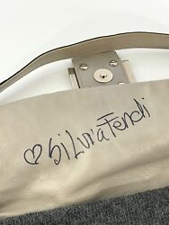 Fendi Baguette Bag Gray Cashmere Silver Embossed Leather Crystal Buckles