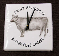 New Dairy Products Cow Motif 12 Kitchen Clock With Distressed Edges