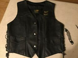 Womens Leather Motorcycle Vest Large With Harley Pins And Vest Extenders Usa