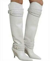 Zimmermann Slouch Knee Boot | White Leather Wedge Point Best Seller | 1500 Rrp
