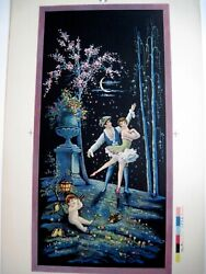 Lovely Print Of Man And Ballerina In The Moon Light W/ Cupid By Brunozetti