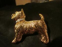 Stunning Vintage,18ct Gold Plated Westie Brooch, Signed, Ann Richmond, Boxed