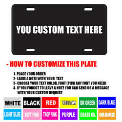 BLACK PERSONALIZED CUSTOM ALUMINUM LICENSE PLATE Car Tag Your Name amp; Color $9.95