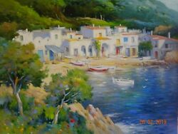 Fishing Village Large Original Oil Painting By Globally Acclaimed Albert Roca
