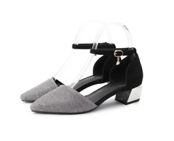 Womens Shoes Mid Chunky Heels Pumps Buckle Comfort Pointed Toe Sandals Casual