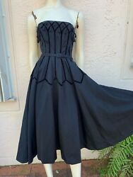 Vintage 50andrsquos Hollywood Glamour Bombshell Strapless Black Dress W/ Tassels