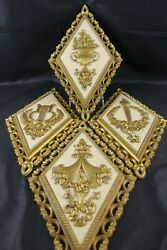 Mid Century Mcm Homco Set 4 Wall Plaques Diamond Shaped French Court