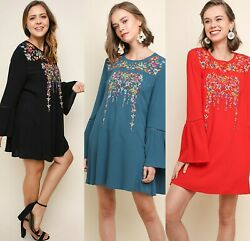 Sml Umgee Black Chilli Or Teal Floral Embroidered Dress/tunic Bhcs