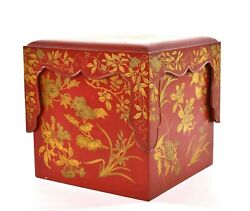 1900's Japanese Makie Gilt Lacquer Wood Bento Box With Stand And Tray - As Is