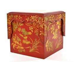 1900and039s Japanese Makie Gilt Lacquer Wood Bento Box With Stand And Tray - As Is