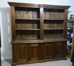 WONDERFUL OLD PINE DOUBLE FRONTED BOOKCASE - LARGE IN 2 SECTIONS - SHABBY CHIC