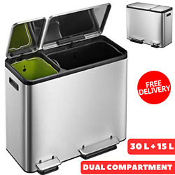 Intelligent Dual Compartment Stainless Steel Recycle Step Trash Can 30 L