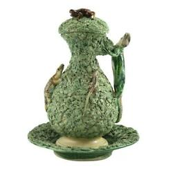 19th Century Palissy Ware Lidded Jug And Bowl With Frogs And Lizards