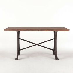 72 L William Table Hand Crafted Solid Teak Wood Reclaimed Industrial Iron