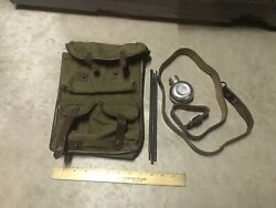 Vintage Canvas Military Pouch Bag 3 Piece Rod Oil Can Leather Strap Green