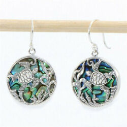 Boho Tortoise 925 Silver Round Earrings Wedding Jewelry Dangle Drop Ear Hook