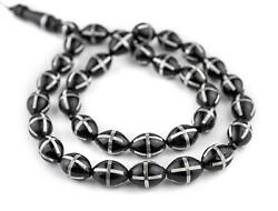 Black French Cross Silver-inlaid Oval Arabian Prayer Beads 12mm Middle East Wood