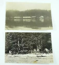Lot Of 2 Antique Real Photos Of Sechart Whaling Station And Pachena By Camp 1910