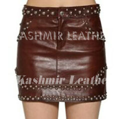 New Woman Maroon Full Silver Studded Unique Style Punk Biker Leather Mini Skirt