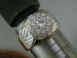 Two Tone Men's Diamond Ring 1.50 Carat Total Weight Gents Mens Mans Size 12