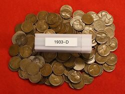 1933-d Lincoln Wheat Cent Penny 50 Coin Roll G-vf Great Collector Coins Gift