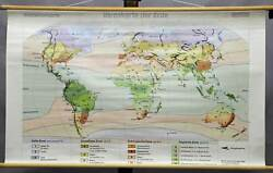 school wall chart geography climatic map earth colored black and white