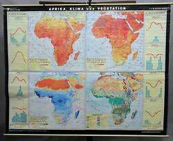 vintage poster geographical wall chart, map, Africa, climate and vegetation