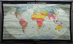 old pull-down wall chart poster, geography, map, the earth, climate zones
